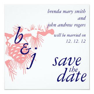 Économies de mariage d'hiver le vert d'annonces de carton d'invitation  13,33 cm