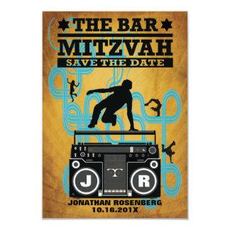 Économies de Mitzvah de barre de hip hop la date Carton D'invitation 8,89 Cm X 12,70 Cm