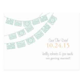 Économies de Papel Picado le vert de menthe de Cartes Postales