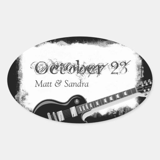 Économies de papier déchirées géniales de guitare sticker ovale