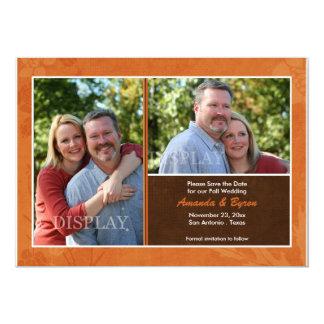Économies de photo de mariage de automne le carton d'invitation  12,7 cm x 17,78 cm