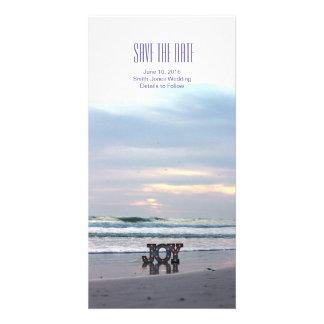 Économies de plage de coucher du soleil la date photocarte customisée