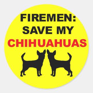 Économies de pompier mes chiwawas autocollants ronds