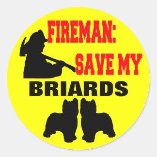 Économies de pompier mon Briards Autocollants Ronds