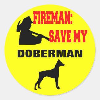 Économies de pompier mon dobermann autocollants ronds
