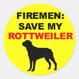 Économies de pompier mon rottweiler autocollant rond