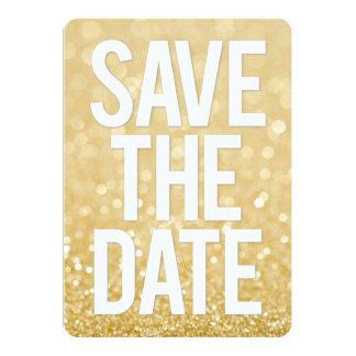 Économies de scintillement d'or la typographie de carton d'invitation  12,7 cm x 17,78 cm