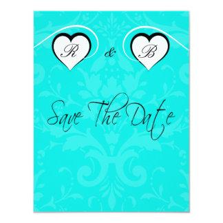 Économies de turquoise la date épousant les coeurs carton d'invitation 10,79 cm x 13,97 cm