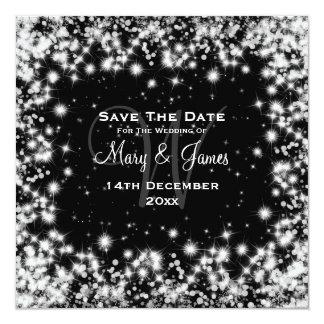 Économies élégantes de mariage le noir d'étincelle carton d'invitation  13,33 cm