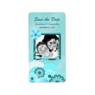 Économies florales bleues de photo d'Aqua les Étiquette D'adresse