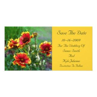 Économies florales de mariage de fleurs couvrantes photocarte