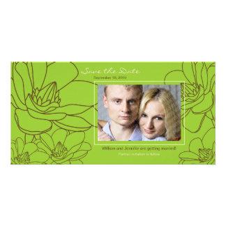 Économies florales élégantes de mariage le carte cartes de vœux avec photo