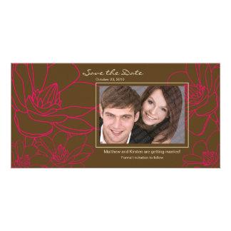 Économies florales élégantes le carte photo de modèle pour photocarte