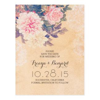 Économies florales la date avec les pivoines roses cartes postales