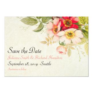 Économies florales vintages du bouquet | Weding la Carton D'invitation 12,7 Cm X 17,78 Cm
