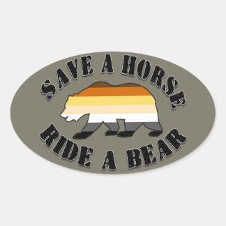 Économies gaies de fierté d'ours un ours de tour sticker ovale