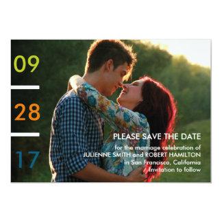 Économies minimalistes modernes de photo la date carton d'invitation  12,7 cm x 17,78 cm