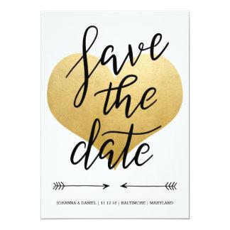 Économies modernes de coeur de feuille d'or de carton d'invitation  12,7 cm x 17,78 cm