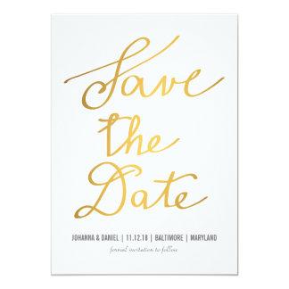 Économies modernes de mariage de calligraphie d'or carton d'invitation  12,7 cm x 17,78 cm
