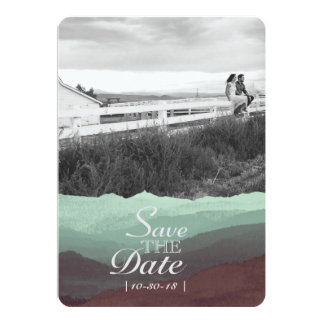 Économies modernes de montagne d'aquarelle la date carton d'invitation  12,7 cm x 17,78 cm