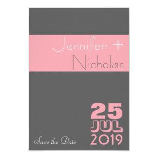 Économies modernes grises roses de mariage de carton d'invitation 8,89 cm x 12,70 cm
