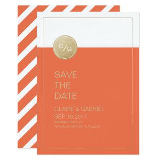 Économies modernes minimalistes oranges de mariage carton d'invitation  12,7 cm x 17,78 cm