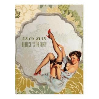 économies nuptiales vintages de thé de douche la carte postale