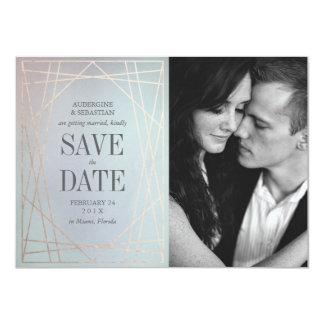Économies opalines de photo de mariage la date en carton d'invitation  11,43 cm x 15,87 cm