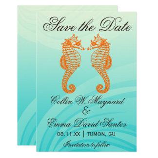 Économies oranges et bleues d'hippocampe la date carton d'invitation  12,7 cm x 17,78 cm