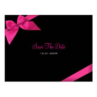 Économies roses de mariage de ruban le faire-part carte postale