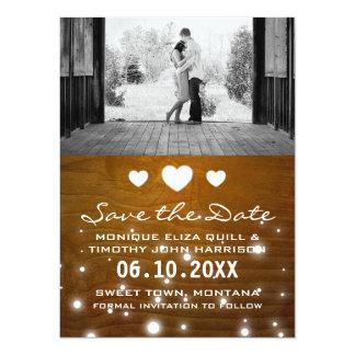 Économies rustiques de mariage de coeurs et de carton d'invitation  13,97 cm x 19,05 cm