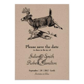 Économies rustiques de papier d'emballage de cerfs carton d'invitation  12,7 cm x 17,78 cm