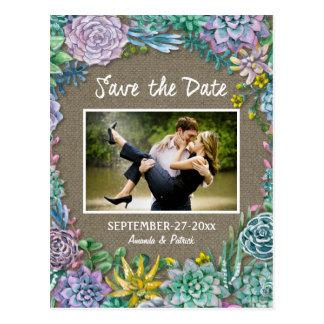 Économies succulentes de mariage de toile de jute carte postale