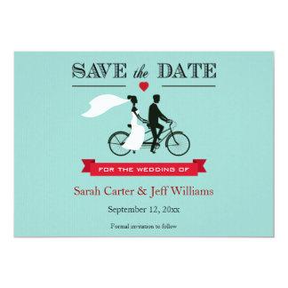 Économies tandem de bicyclette les cartes de date invitation personnalisée