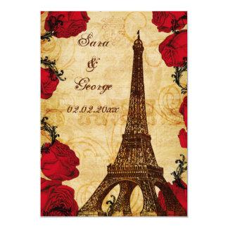 économies vintages rouges de Paris de Tour Eiffel Carton D'invitation 12,7 Cm X 17,78 Cm