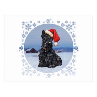 Écossais Terrier de l'aide de Père Noël Carte Postale