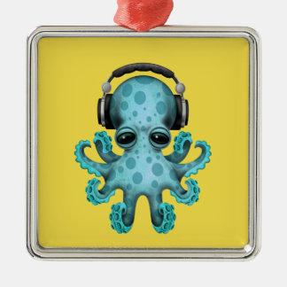 Écouteurs de port du DJ de poulpe de bébé bleu Ornement Carré Argenté