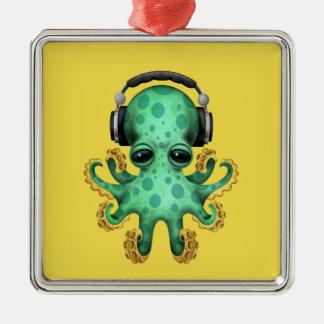 Écouteurs de port du DJ de poulpe vert de bébé Ornement Carré Argenté