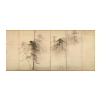 Écran de main gauche de pins par Hasegawa Tohaku Toiles