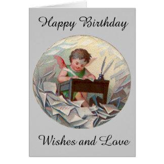 Écriture vintage d'enfant d'ange d'anniversaire au carte de vœux