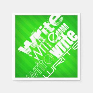 Écrivez ; Rayures vertes au néon Serviette En Papier