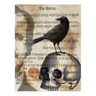 Edgar Allan Poe le crâne et l'oiseau de Raven Carte Postale