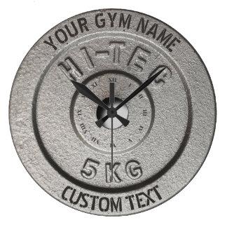 Édition grise drôle de forme physique de grande horloge ronde