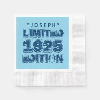 édition V01Z de 1925 ou d'Any Year Birthday Serviettes Jetables