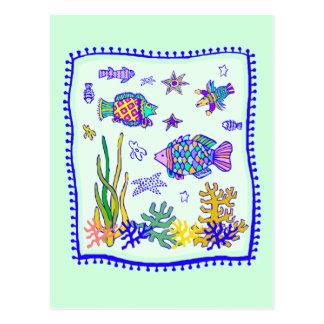 Édredon tropical de poissons carte postale