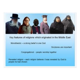Éducation, religions du monde, fonctionnalités carte postale