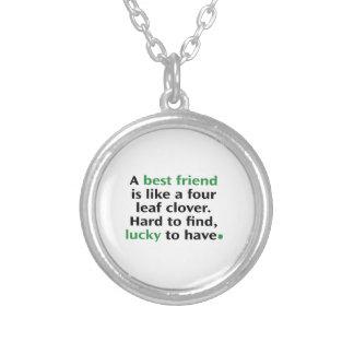 Een beste Vriend is als een Klaver van Vier Blad Zilver Vergulden Ketting