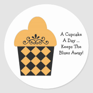 Een Cupcake een Dag… oranje & zwarte Ronde Sticker