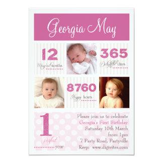 Één Eerste Verjaardag van het Meisje van het Baby Kaart