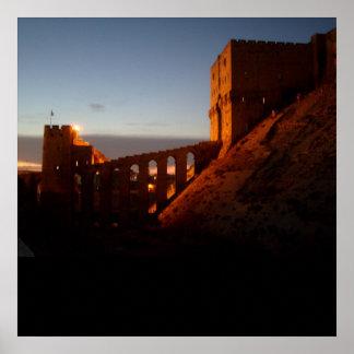 een middeleeuwse zonsondergang poster